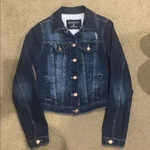 Vanity distressed jean jacket size small